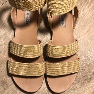 Steve Madden Bandi Natural Raffia Sandals Size 8